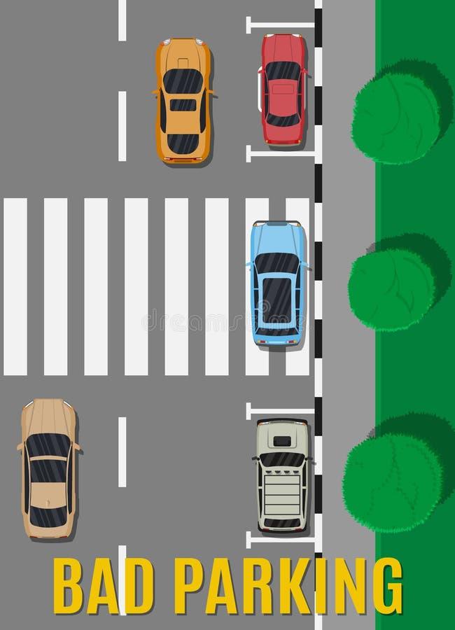 Mauvais ou faux stationnement de voiture illustration de vecteur