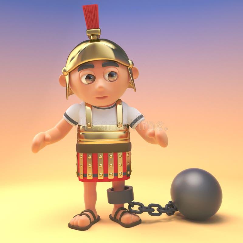Mauvais soldat romain de centurion portant une boule et une chaîne, illustration 3d illustration de vecteur