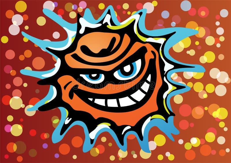 Mauvais vecteur riant fâché de Sun illustration stock