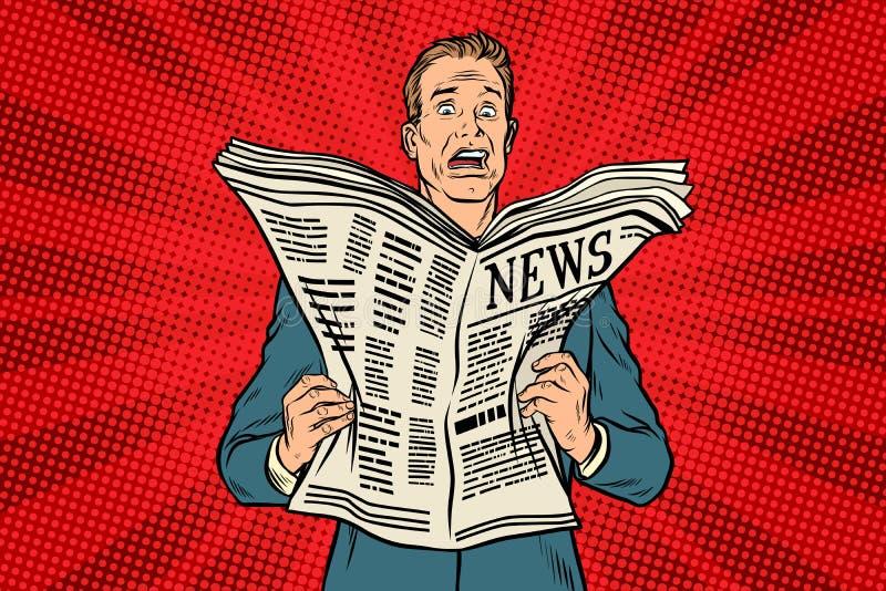 Mauvaise nouvelle dans le journal illustration de vecteur