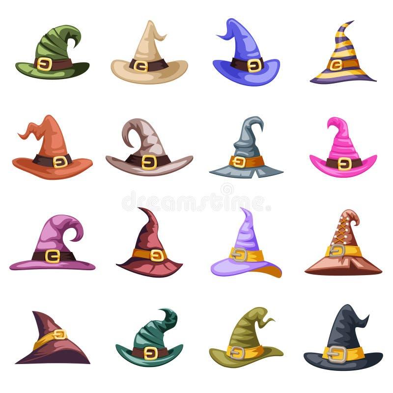 Mauvaise sorcière défaite vieille décoration de chapeau octobre halloween icons set isolé dessin animé vecteur illustration illustration de vecteur