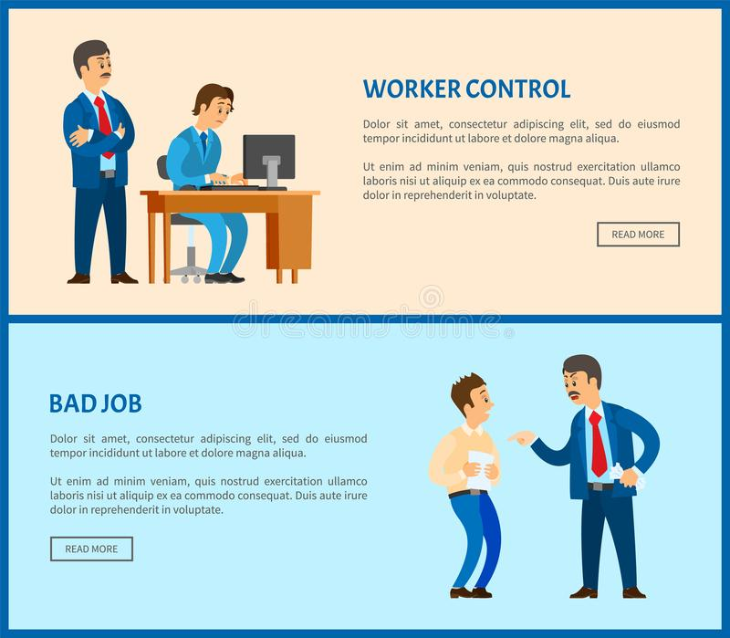 Mauvaises pages Web du travail et de vecteur de contrôle de travailleur, patron illustration libre de droits