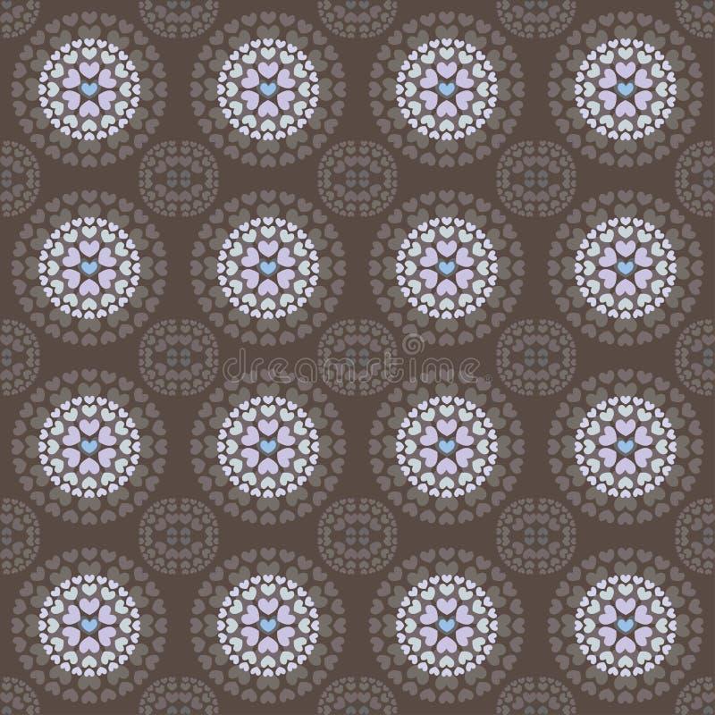 Mauve circulaire de brun de modèle de coeurs sans couture illustration libre de droits