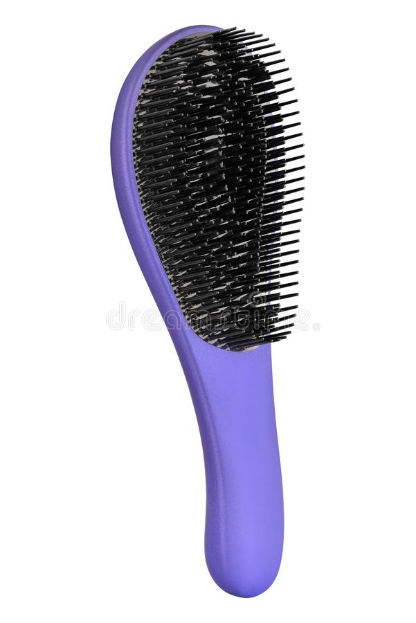 Mauve hair comb brush with handle for all hair types, isolated on white background, clipping path included.  stock photography