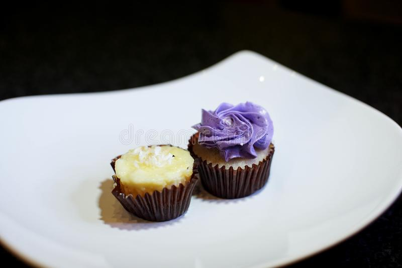 Bite sized cupcakes at a party. Mauve purple mini cupcake with a coconut cream cupcake on a white plate. Small bite size party desserts. Children birthday stock images