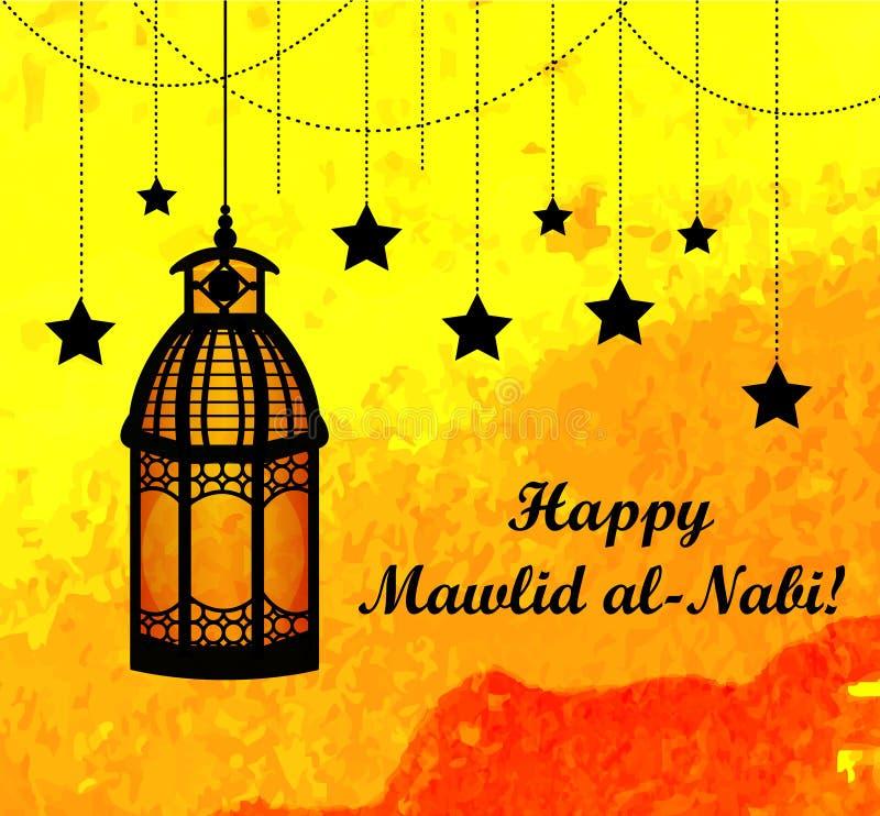 Mawlid Al Nabi, födelsedagen av kortet för profetMuhammad hälsning royaltyfri illustrationer
