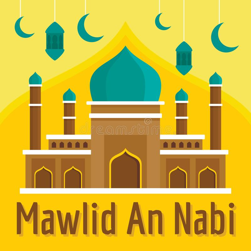 Mawlid un fondo del concepto de Nabi, estilo plano ilustración del vector