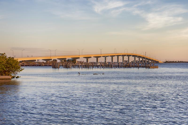Max Brewer Memorial Parkway. In Titusville at Sunrise stock images