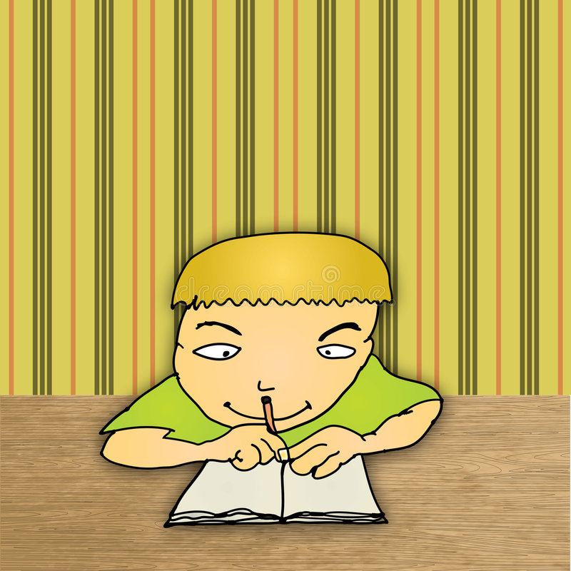 Download Max Does His Homework stock illustration. Image of student - 9300664