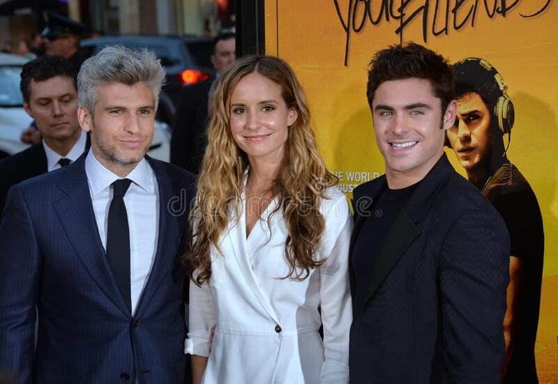 Max Joseph & Meaghan Oppenheimer & Zac Efron. LOS ANGELES, CA - AUGUST 20, 2015: Director/co-writer Max Joseph (left) & actor Zac Efron with screenwriter Meaghan stock photo