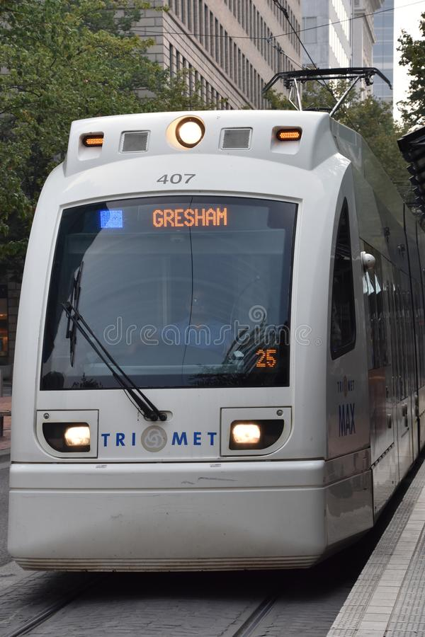 MAX Light Rail Streetcar in Portland, Oregon royalty-vrije stock afbeelding