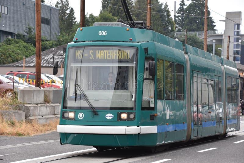 MAX Light Rail Streetcar in Portland, Oregon stock afbeeldingen