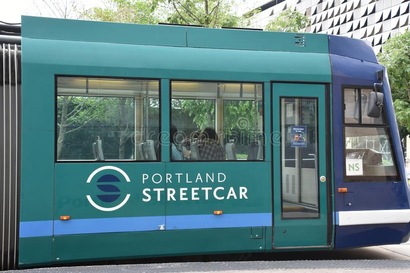 MAX Light Rail Streetcar in Portland, Oregon stock afbeelding