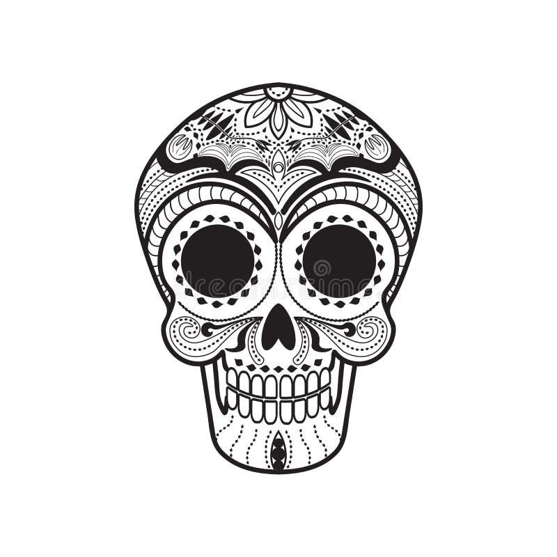 Mexican Calavera Skull. Maxican Calavera Skull icon/symbol black and white royalty free illustration