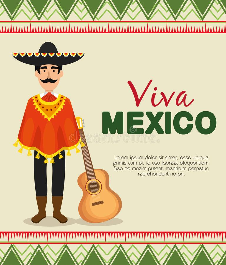 Maxican mariachi with poncho and hat to event. Vector illustration stock illustration