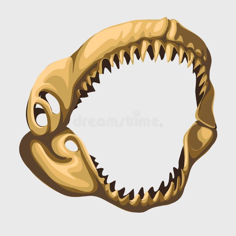 Maxila aberta toothy fóssil do tubarão, imagem do vetor ilustração royalty free