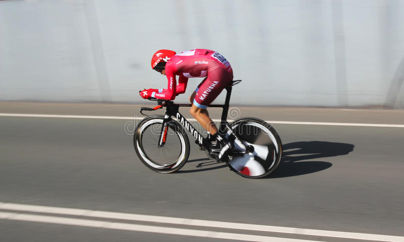 Maxim Belkov, Katusha. APELDOORN, NETHERLANDS-MAY 6 2016: Maxim Belkov of pro cycling team Katusha during the Giro d'Italia prologue time trial royalty free stock photography