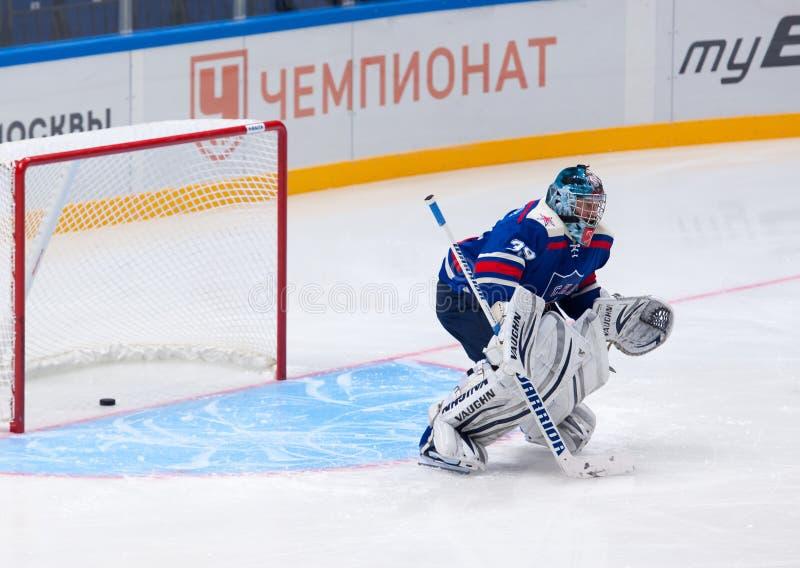 Maxim Sokolov (39), goaltender of SKA Legend team royalty free stock photo