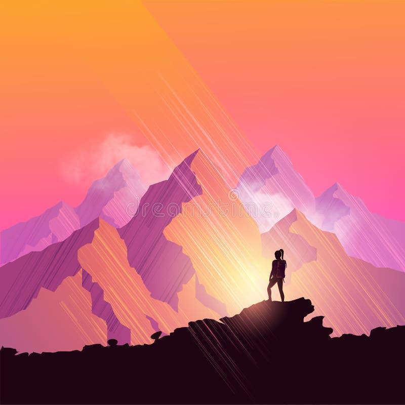 maxima för caucasus dombay bergberg stock illustrationer