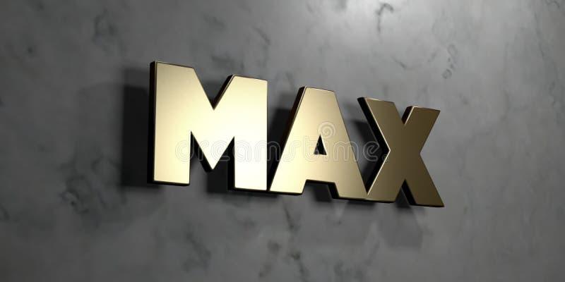 Maximal - guld- tecken som monteras på den glansiga marmorväggen - 3D framförde den fria materielillustrationen för royalty stock illustrationer