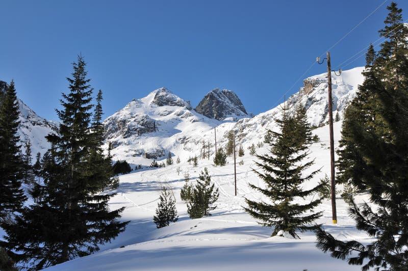 Maximala Maliovica i vintern, nationalpark Rila i Bulgarien arkivfoto