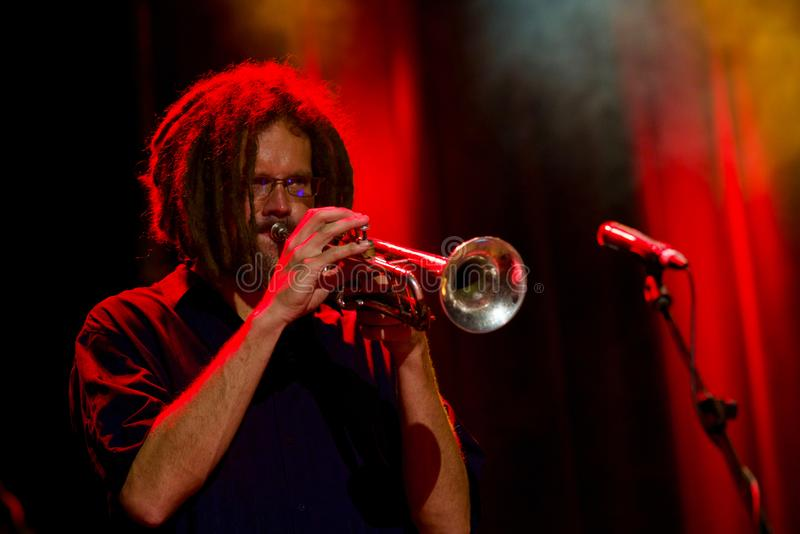 Maxime St. Pierre on Trumpet at Tremblant International Blues Festival - July 13, 2018 stock photos