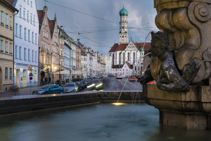 Maximilian Street and Hercules Fountain in Augsburg at night. The Landmark Maximilian Street and Hercules Fountain in Augsburg at night royalty free stock photos