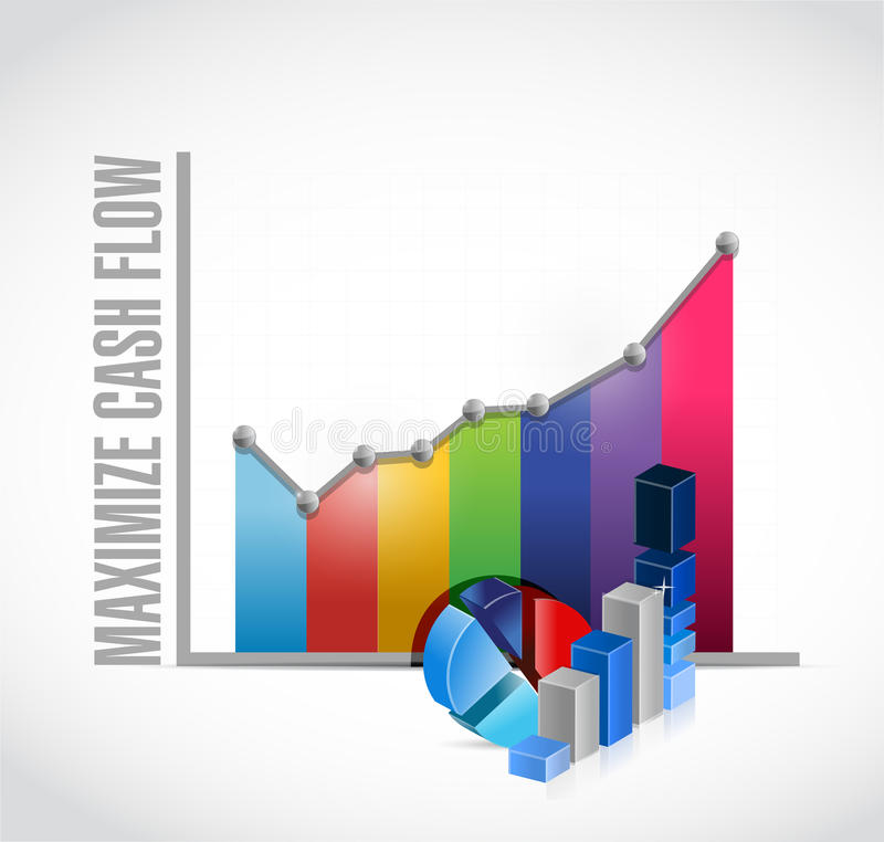 Maximize cash flow business graph sign. Illustration design over white background royalty free illustration