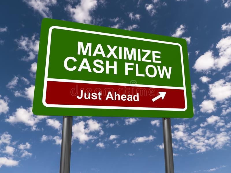 Maximize Cash Flow Sign. A maximize cash flow sign against a blue sky with clouds vector illustration