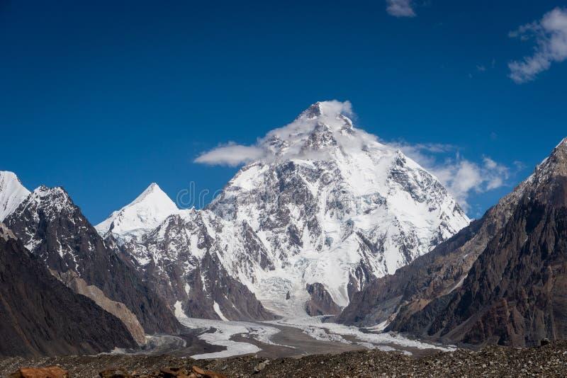 Maximum för berg K2, maximum för i andra hand högst berg i världen, K2 fotografering för bildbyråer