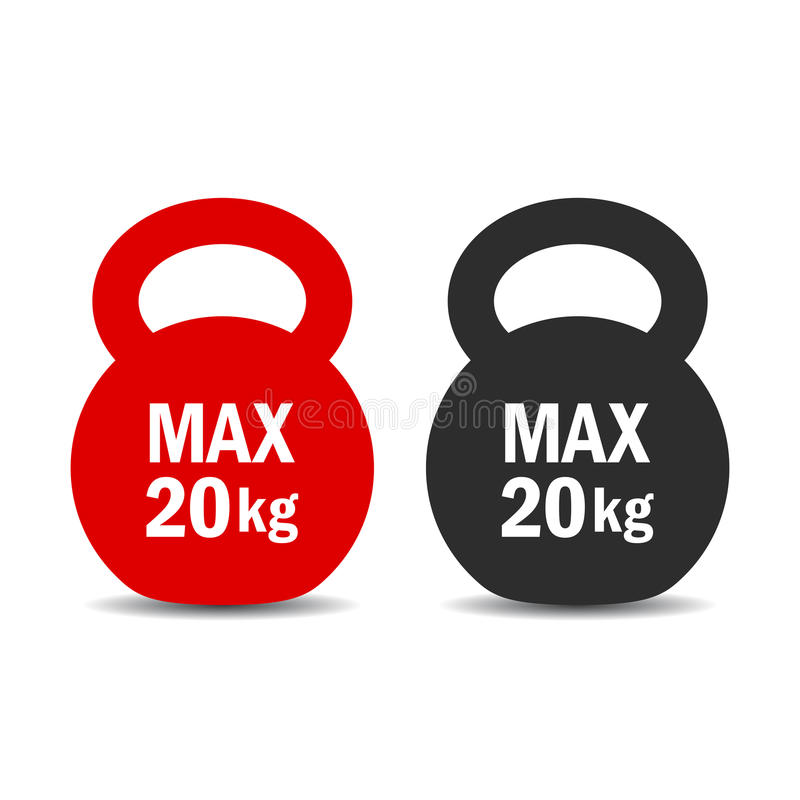 Maximum load weight vector icon. Maximum load weights vector icons set royalty free illustration