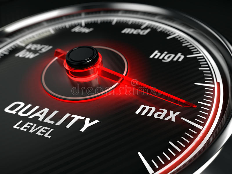 Maximum Quality concept - quality level meter vector illustration