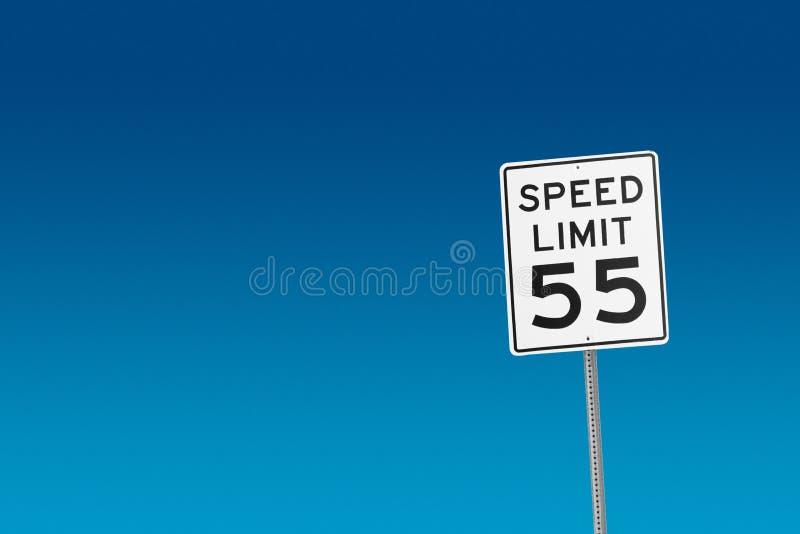 Maximum snelheid 55 stock afbeelding