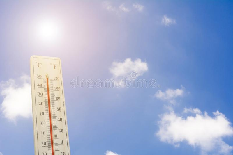 Maximum temperature - Thermometer on the summer heat royalty free stock images