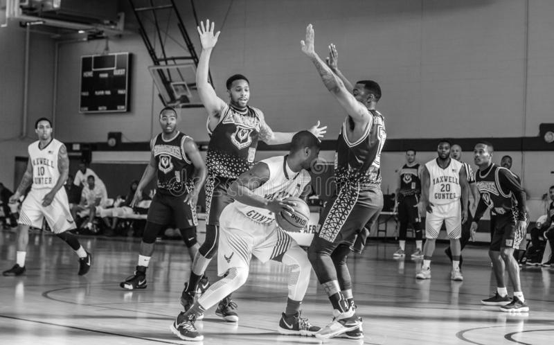 Maxwell Air Force Base Gunter Annex  Basketball Team Action Shots in Black and White. Montgomery, ALABAMA - JANUARY 26, 2019: Action shots of the Maxwell Air stock image