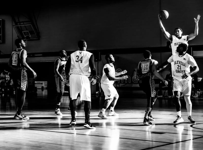 Maxwell Air Force Base Gunter Annex  Basketball Team Action Shots in Black and White. Montgomery, ALABAMA - JANUARY 26, 2019: Action shots of the Maxwell Air stock photo
