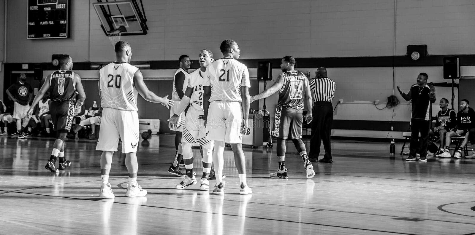 Maxwell Air Force Base Gunter Annex  Basketball Team Action Shots in Black and White. Montgomery, ALABAMA - JANUARY 26, 2019: Action shots of the Maxwell Air stock photography