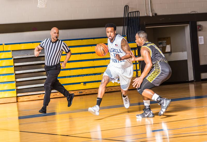 Maxwell Air Force Base Gunter Annex Basketball Team Action Shots. Montgomery, ALABAMA - JANUARY 26, 2019: Action shots of the Maxwell Air Force Base Gunter Annex royalty free stock photography