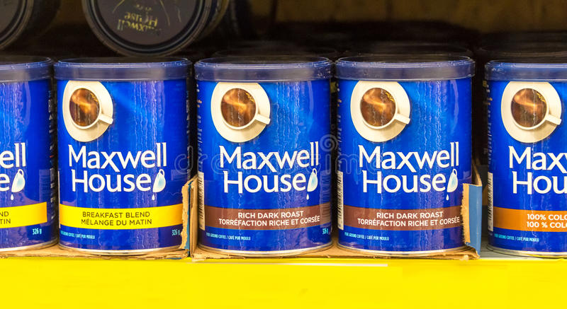 Maxwell House Coffee Cans in Opslagplank royalty-vrije stock fotografie