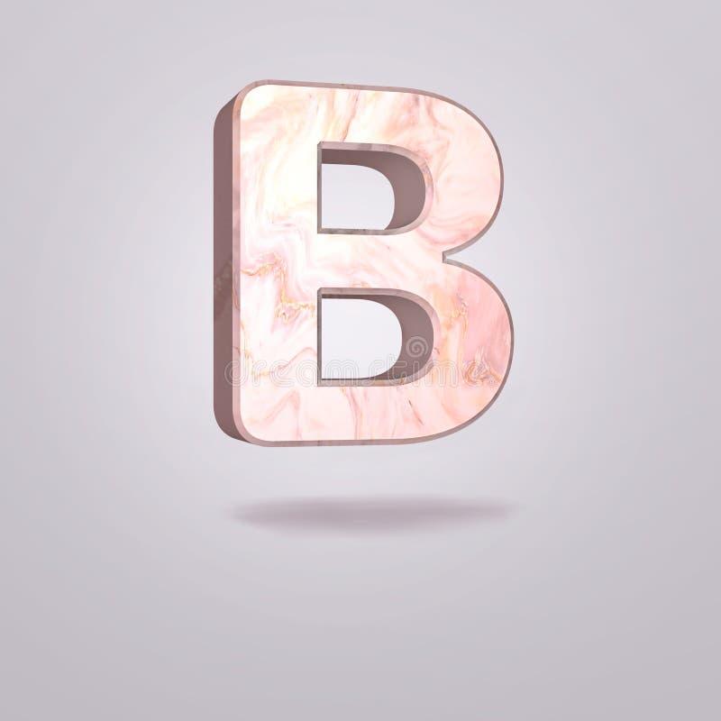 Mayúscula B del extracto 3d en mármol rosado Alfabeto realista en la fuente moderna, fondo gris aislado Cartel de la vendimia Art libre illustration