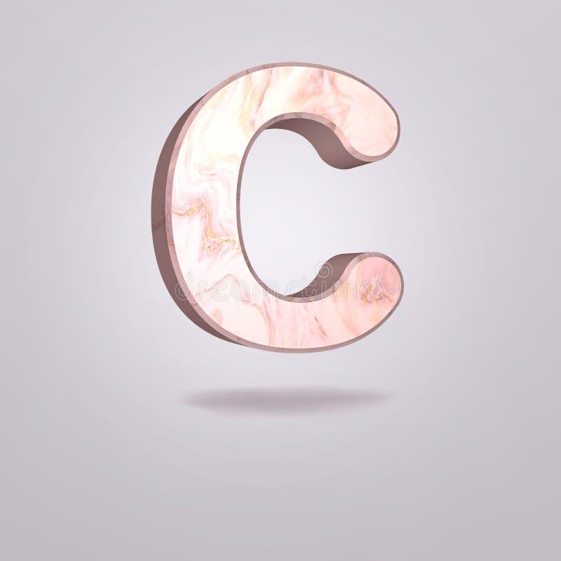 Mayúscula C del extracto 3d en mármol rosado Alfabeto realista en la fuente moderna, fondo gris aislado Cartel de la vendimia Art stock de ilustración