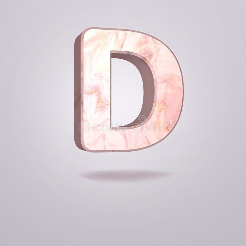 Mayúscula D del extracto 3d en mármol rosado Alfabeto realista en la fuente moderna, fondo gris aislado Cartel de la vendimia Art libre illustration