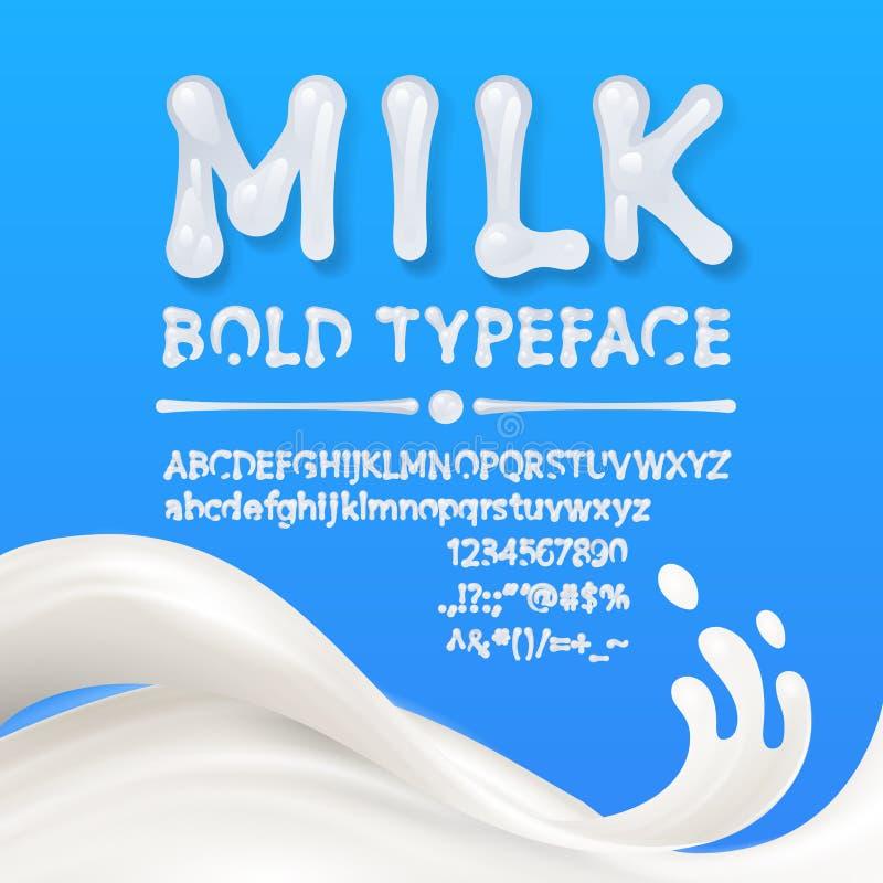 Mayúscula de la leche y alfabetos minúsculos con símbolos y números aislados en fondo azul con el chapoteo de la leche libre illustration