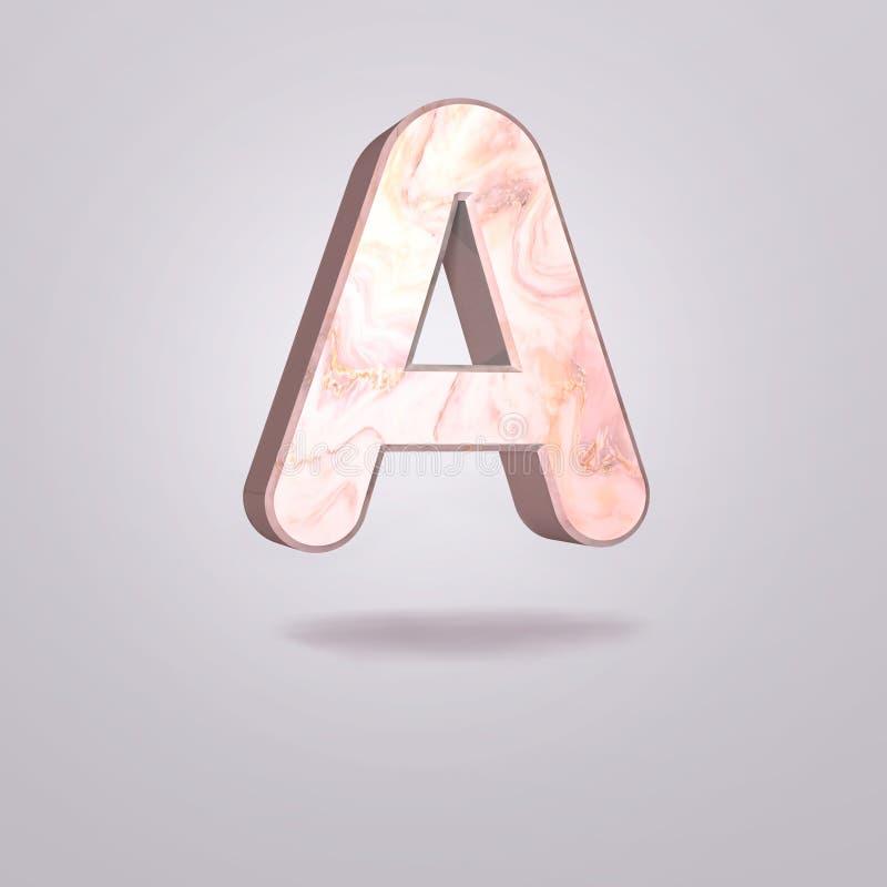 Mayúscula A del extracto 3d en mármol rosado Alfabeto realista en la fuente moderna, fondo gris aislado Cartel de la vendimia Art libre illustration