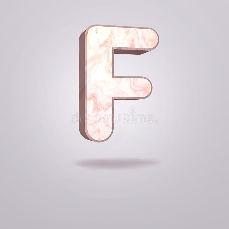 Mayúscula F del extracto 3d en mármol rosado Alfabeto realista en la fuente moderna, fondo gris aislado Cartel de la vendimia Art stock de ilustración