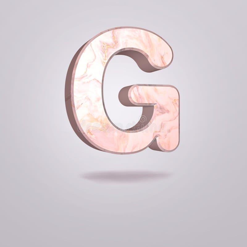 Mayúscula G del extracto 3d en mármol rosado Alfabeto realista en la fuente moderna, fondo gris aislado Cartel de la vendimia Art stock de ilustración