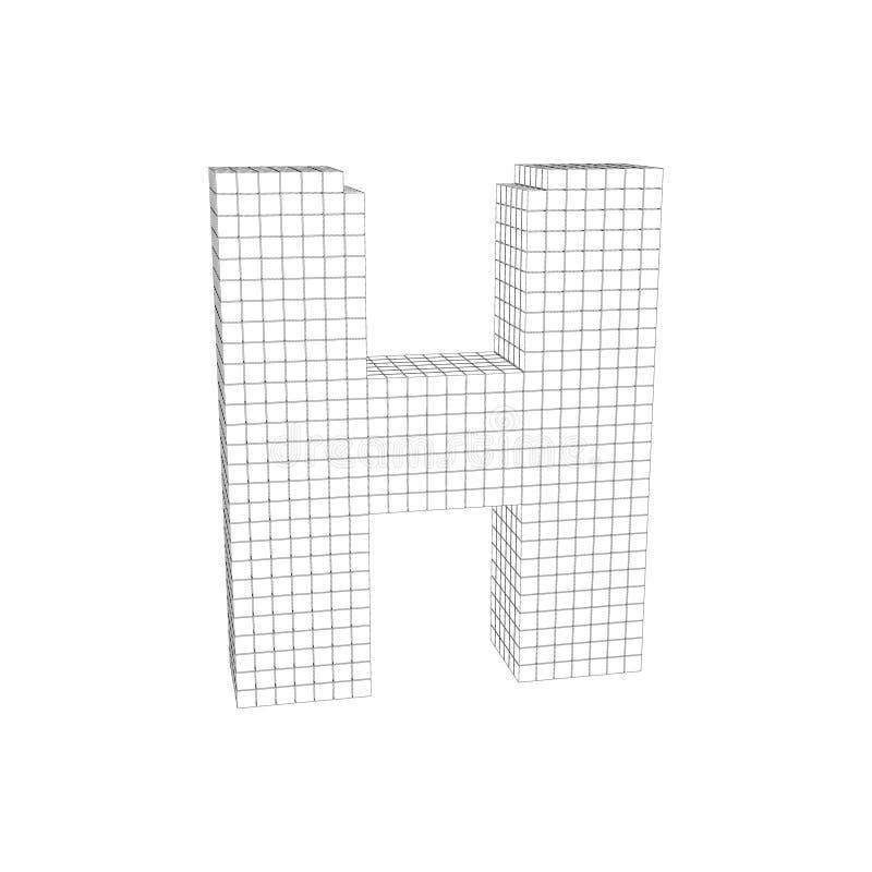 mayúscula pixelated 3d H Ejemplo del esquema del vector libre illustration