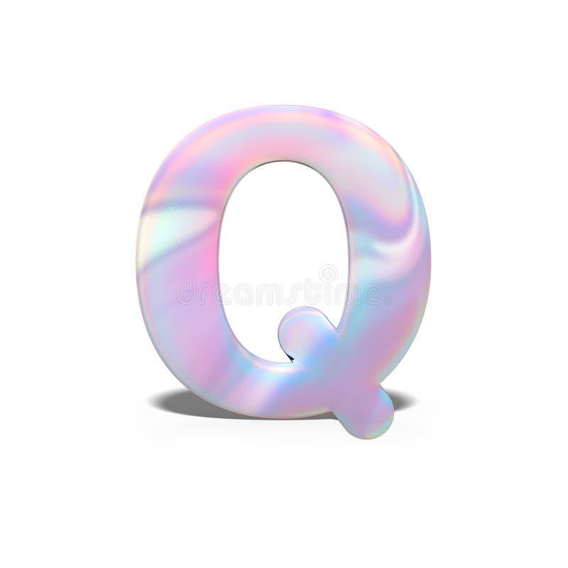 Mayúscula Q del extracto 3d en diseño olográfico brillante Alfabeto brillante realista en la fuente rosada azul de neón, blanco a stock de ilustración