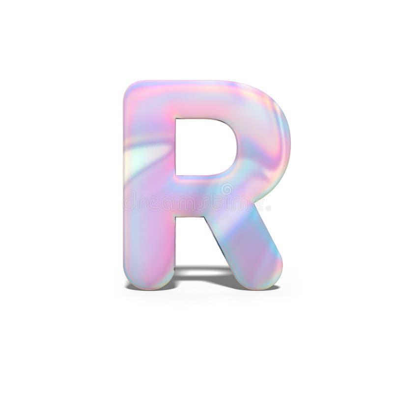 Mayúscula R del extracto 3d en diseño olográfico brillante Alfabeto brillante realista en la fuente rosada azul de neón, blanco a ilustración del vector