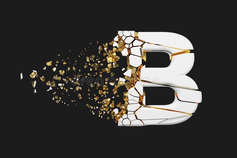 Mayúscula roto quebrado de la letra B del alfabeto Fuente machacada del blanco y del oro 3D rinden aislado en fondo gris stock de ilustración